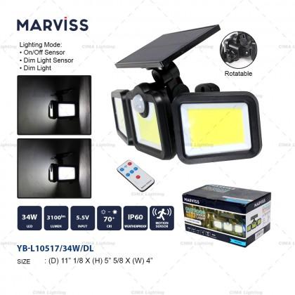 MARVISS YB-L10517 34W OUTDOOR MOTION SENSOR SOLAR LIGHT